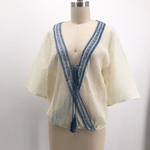 LOVE STITCH Faux Wrap Front Gauze Boho Shirt